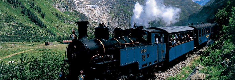 The Furka Cogwheel Steam Railway , Obergoms VS, Switzerland